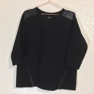 a.n.a.   Black Sweater w/ Faux Leather & Zippers